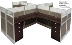 "12'W x 12'D x 48""H Value Series 4-Person Cluster Office Cubicle w/Files - Add On Workstation"