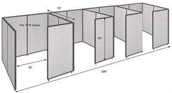 "42""H 4-Person Private Office Cubicles for 72�W Desks"