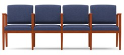 Amherst Wood Frame 4 Seats w/ Center Arms in Standard Fabric or Vinyl