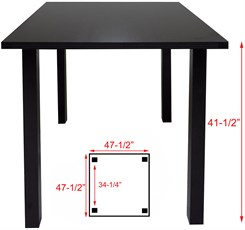 4' x 4' Square Standing Height Conference Table w/Square Post Legs