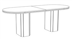 "48"" x 120"" Custom Standing Height Oval Table with Pedestal Bases"