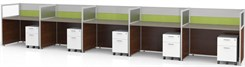"Sync Custom Cubicles - 43""H 5-Person Bench Workstation"
