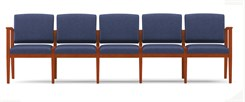 Amherst Wood Frame 5 Seat Sofa in Standard Fabric or Vinyl