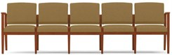 Amherst Wood Frame 5 Seat Sofa  in Upgrade Fabric or Healthcare Vinyl