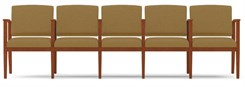 Amherst Wood Frame 5 Seats w/ Center Arms  in Upgrade Fabric or Healthcare Vinyl