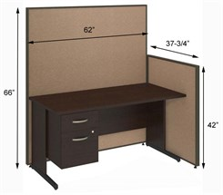 "60""W Cubicle w/Desk w/ File"