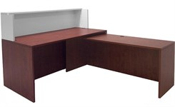"Cherry/White 66"" L-Shaped Reception Desk with Slide Out Return"