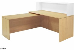 "Maple/White 66"" L-Shaped Reception Desk with Slide Out Return"