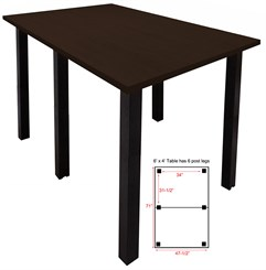 6' x 4' Standing Height Conference Table w/Square Post Legs