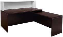 "Mocha/White 71"" L-Shaped Reception Desk with Slide Out Return"