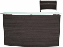 "71"" Wide Curved Charcoal Glass Top Reception Desk"