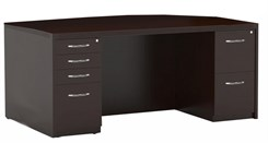 "72"" Bow Front Desk Shell with Two Drawers"