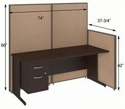 "72""W Cubicle w/Desk w/ File"
