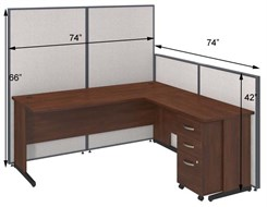 "72""W L-Desk Cubicle w/ Mobile File"