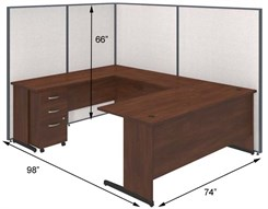 "72""W U-Desk Cubicle w/ Mobile File"