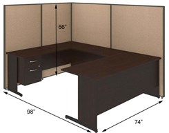 "72""W U-Desk Cubicle w/ File"