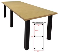 8' x 3' Conference Table w/Square Post Legs
