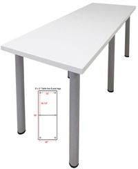 8' x 3' Standing Height Conference Table w/Round Post Legs