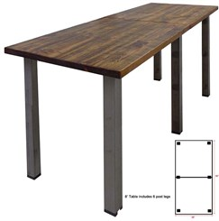 8' x 3' Standing Height Solid Wood Conference Table w/ Industrial Steel Legs