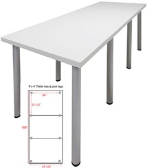 9' x 4' Standing Height Conference Table w/Round Post Legs