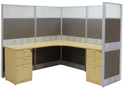 "72"" x 72"" x 67""H Premium Series L-Shaped Cubicle w/Files - Add-On Unit"