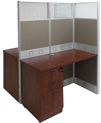 "48""W x 50""D x 67""H Premium Double Add-On Cubicle w/Files"