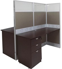 "60""W x 50""D x 67""H Premium Double Add-On Cubicle w/Files"