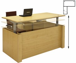Adjustable Height L-Shaped Executive Office Desk in Maple