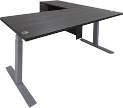 "Electric Lift Height Adjustable L-Shaped Desk with Height Adjustable 66""W Manager's Main Desk"