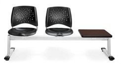 2-Seat + Table Beam Seating with Black Plastic Seats