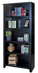 "70""H Black Wood Veneer Bookcase"