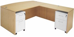 Maple Bow Front Conference L-Desk w/Desk Height Return