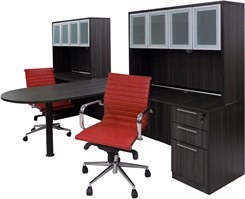 Charcoal 2-Person Shared Workstation w/Hutches