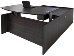 Charcoal Adjustable Height Bow Front U-Shaped Desk