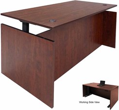 Cherry Adjustable Height Rectangular Front Desk