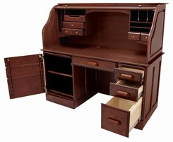 "60""W Solid Oak Rolltop Computer Desk in Cherry Finish - IN STOCK! Made in USA"