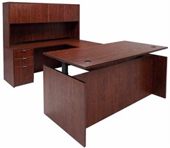 Cherry Adjustable Height Rectangular Front U-Shaped Desk w/Hutch