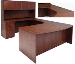 Cherry Laminate U-Shaped Workstation w/Hutch & Curved Bridge