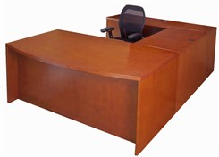 Cherry Veneer Conference U-Shaped Desk w/Hutch