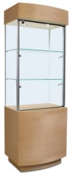 Compact Curved Front Display Case w/ Optional Micro Halogen Spotlights
