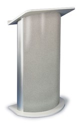 Contemporary Curved Lecterns -Gray Granite w/Satin Anodized Aluminum