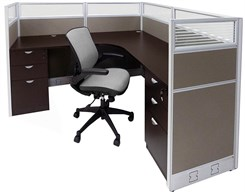 "72"" x 72"" x 48""H Value Series Complete L-Shaped Office Cubicle w/Files - Starter Unit"
