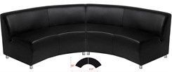 Black Leather 120 Degree Curved Concave Sofa