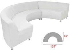 White Leather 180 Degree Curved Concave Sofa
