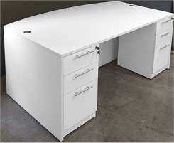 White Bow Front Conference Desk w/6 Drawers