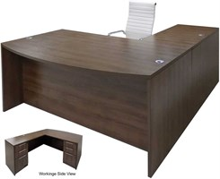Modern Walnut L-Shaped Bow Front Conference Desk w/6 Drawers