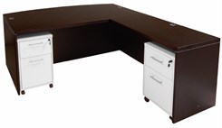 Mocha Bow Front Conference L-Desk w/Desk Height Return
