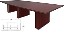 "144"" x 60"" Custom Modern Boat-Shaped Conference Table w/Cable Channel Bases"