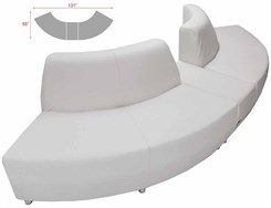 White Leather 120 Degree Curved Convex Sofa w/Powered USB Bench