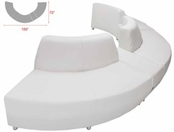 White Leather 180 Degree Curved Convex Sofa w/2 Powered USB Bench
